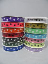 Hot Bright Pink  with Black Paw Print  Satin or Grosgrain ribbon 2, 20 25 metres Double sided 16mm